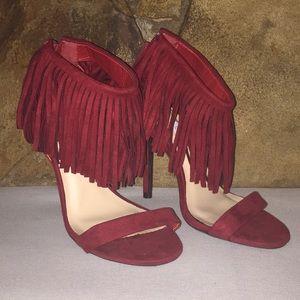 Maroon fringe heels